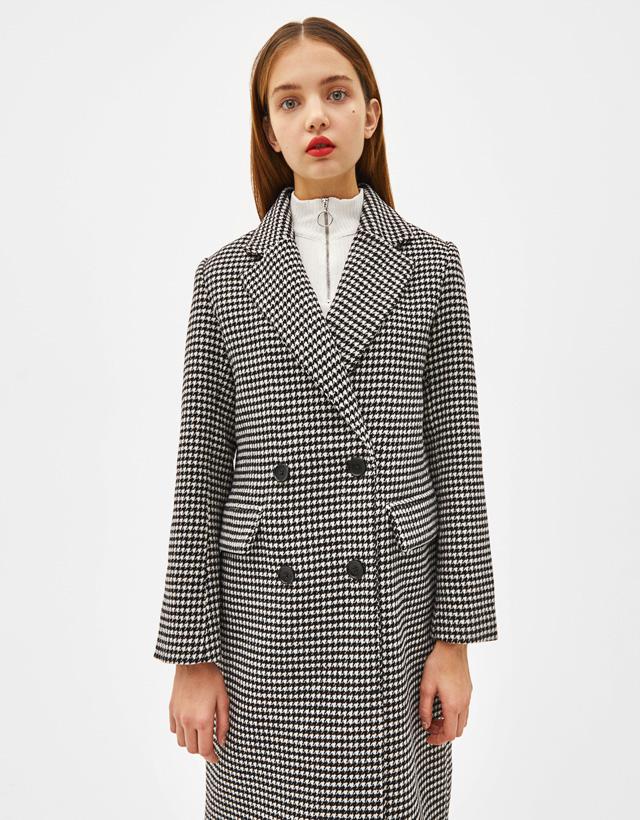 Manteau long imprimé pied-de-poule
