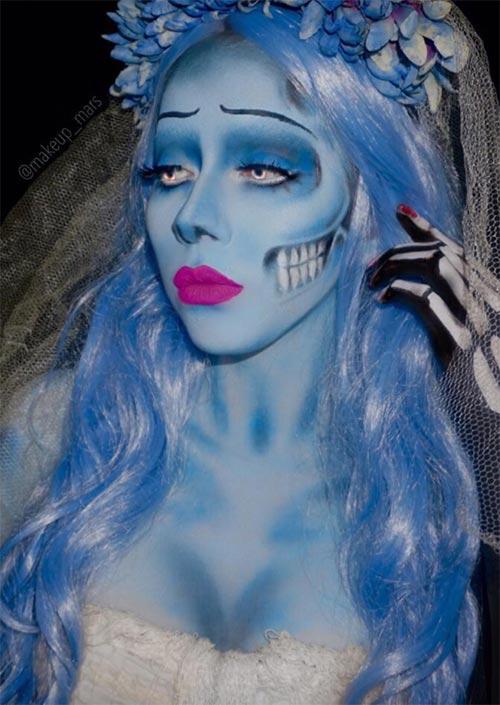 Corpse Bride Makeup : Elle est l'un des personnages les plus cool que Tim Burton a créé. Elle est une option parfaite pour un maquillage d'Halloween, avec des éléments intéressants.