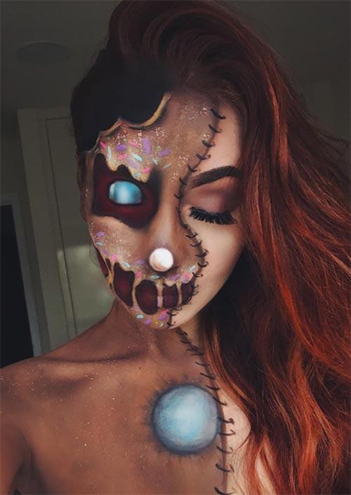 Gingerbread Girl : Ce modele de maquillage halloween pour femmes ne manquera pas de faire bonne impression lors d'une fête costumée. Ce que ce look demande, c'est beaucoup de peinture pour le visage et le corps, des mains habiles, et pas mal de temps !