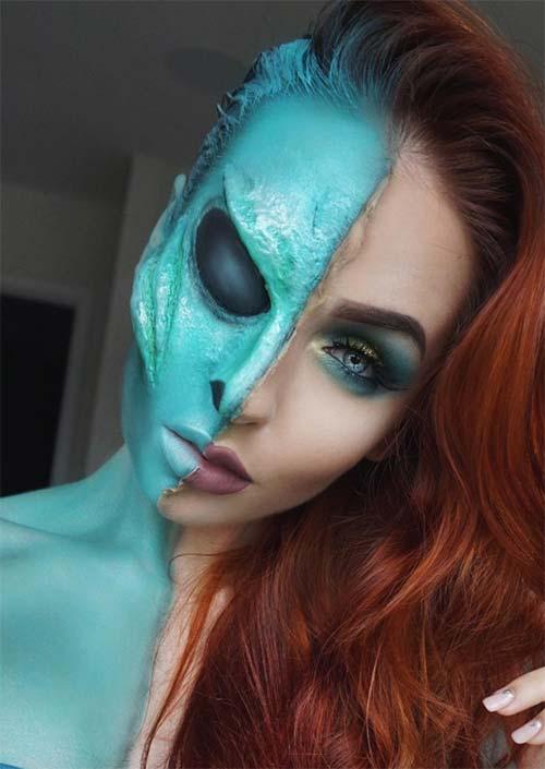 Extra-terrestre déguisée : Un autre exemple de maquillage SFX pour Halloween bien utilisé est le look mi-extraterrestre, et la division entre les deux visages. L'air extraterrestre brille presque, c'est incroyable.
