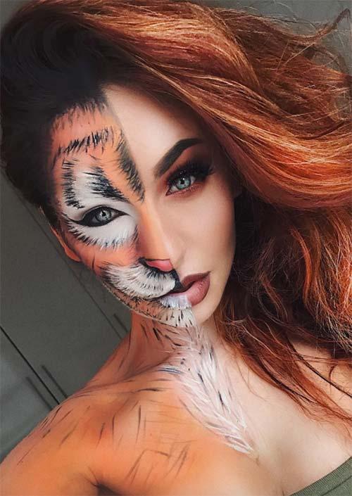 Demi-Tigresse : C'est le look de maquillage d'Halloween que vous recherchez lorsque vous voulez étourdir votre public de plus d'une façon. Il faut être un artiste talentueux pour imiter ce look.