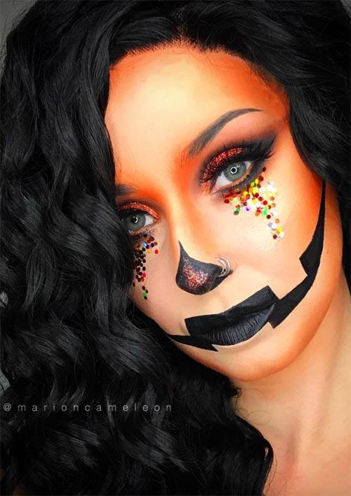 Très peu de cris d'Halloween comme une citrouille. C'est un choix parfait pour l'Halloween qui peut être fait avec du maquillage seul.