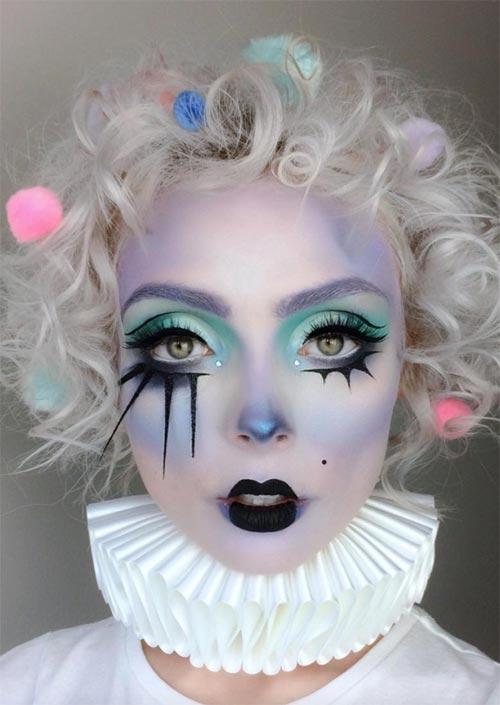 Maquillage d'Halloween Clown Pastel : Le clown est un costume courant à l'Halloween, mais il y a beaucoup de façons différentes de personnaliser le look, et les pastels sont à la mode.