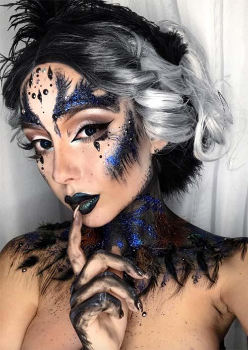 Black Swan maquillage pour Halloween : Juste un peu maniaque dans la quête de la perfection, ici, il est magnifiquement évasé et accentué avec juste le bon nombre de plumes.