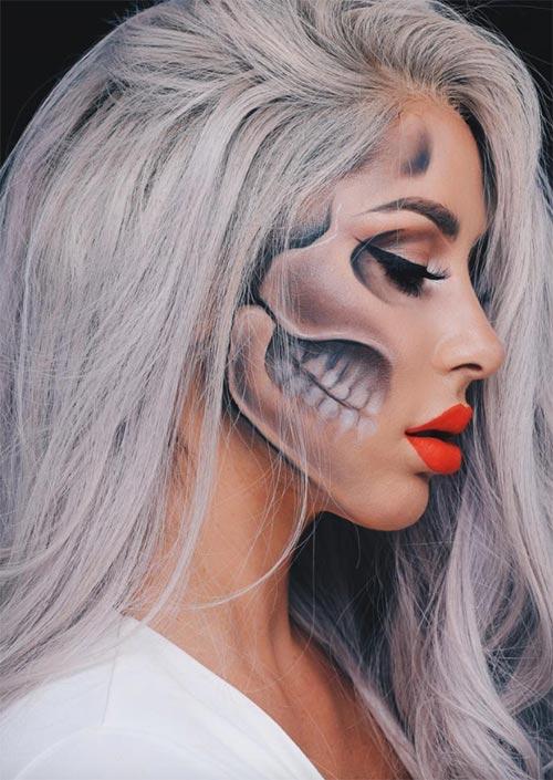 Maquillage profil du squelette : C'est une excellente idée de maquillage d'Halloween qui pourrait être réalisée sans éléments de costume supplémentaires. Juste le profil et les cheveux sont assez étonnants !