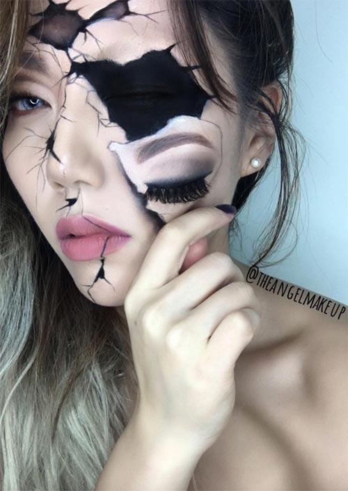 Maquillage du visage cassé pour l'Halloween : Le maquillage du visage cassé, surtout lorsqu'il est fait pour ressembler à une poupée cassée, devient rapidement un classique. C'est une de ces idées de maquillage d'Halloween qui demandent beaucoup de précision.