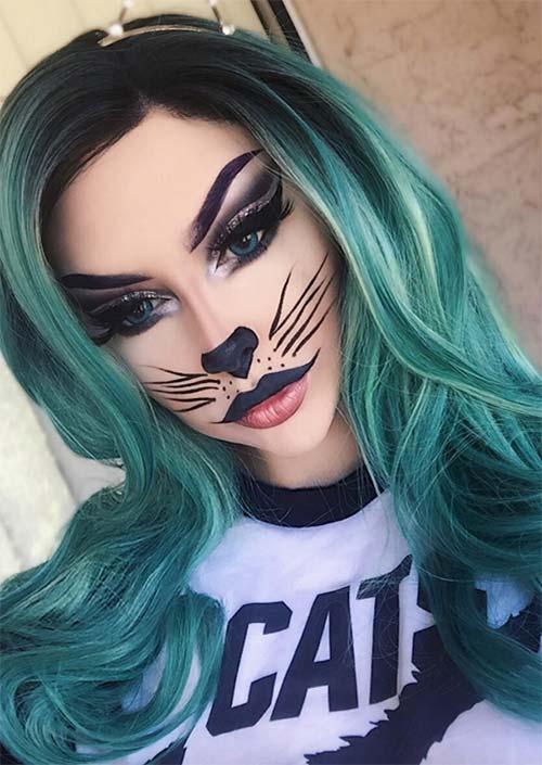 Spooky Kitty : Adorable n'est pas un mot assez fort pour décrire à quel point ce maquillage de chat pour Halloween est mignon et sinistre. L'oeil de chat fort est au-delà de la perfection.