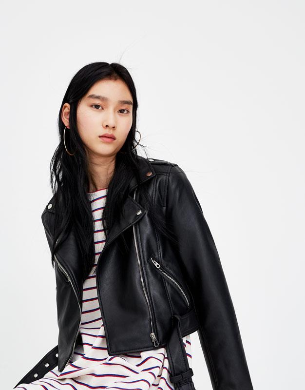 Veste en cuir pour femme tendance 2019 - Noir avec Ceinture