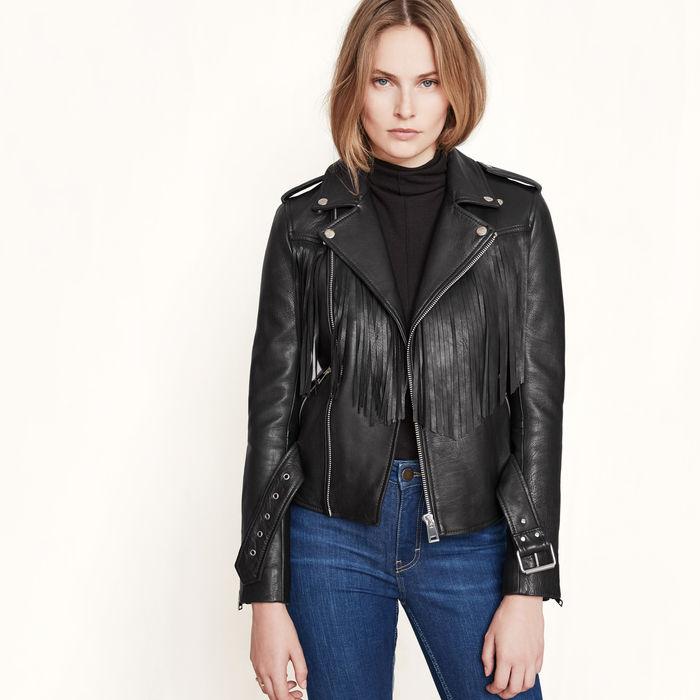 vestes en cuir pour femmes avec Frange
