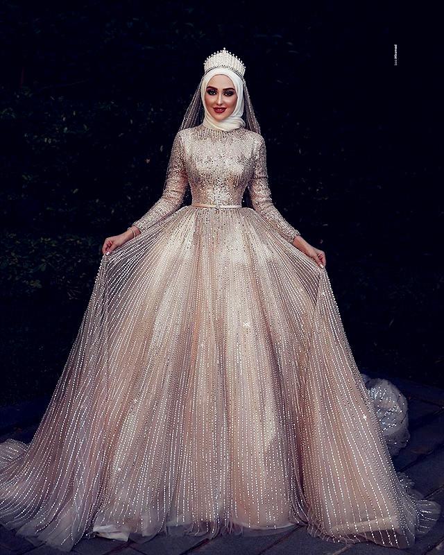 Robe De Mariee Pour Les Femmes Voilees Robe à La Mode 2019