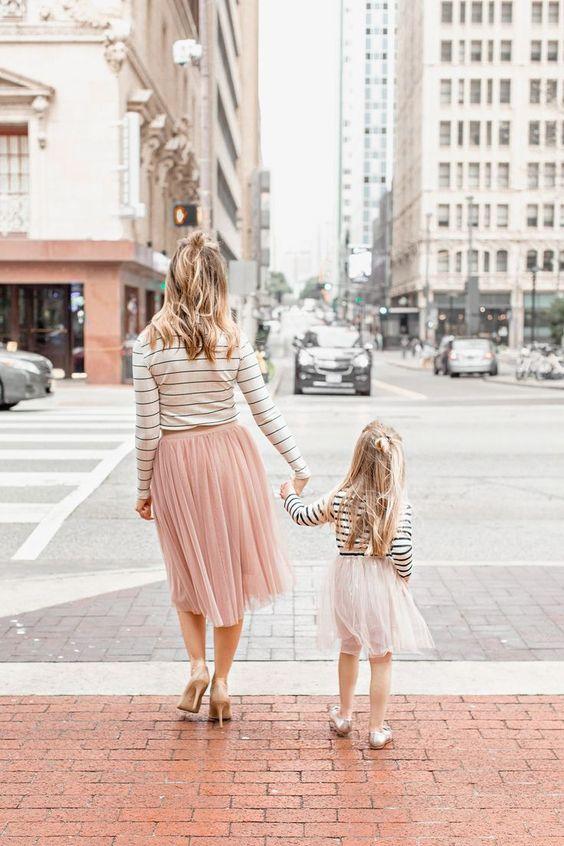 Look assortis mère-fille Tendance 2020 (Rose Pastel)