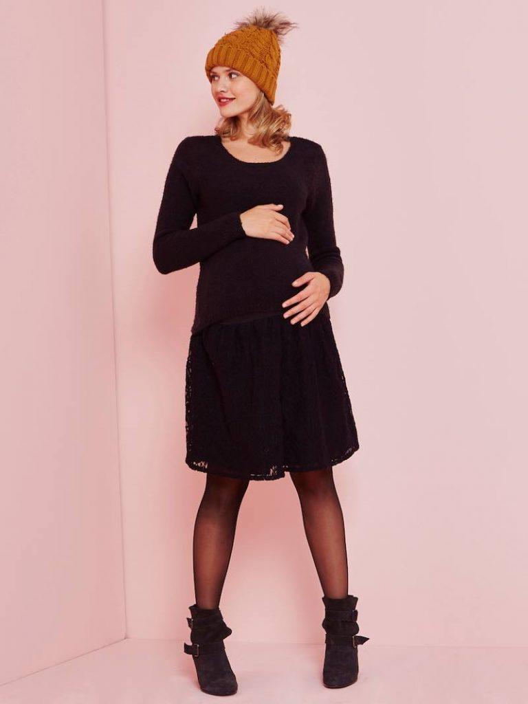 Robe bi-matière de grossesse tendance hiver - noir