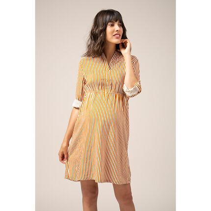 Robe chemise de grossesse à rayures verticales all-over - Prémaman