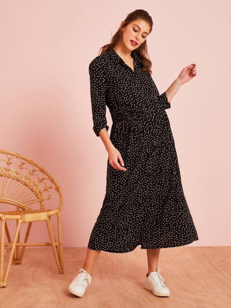 Robe-chemise longue de grossesse - imprime pois fond noir