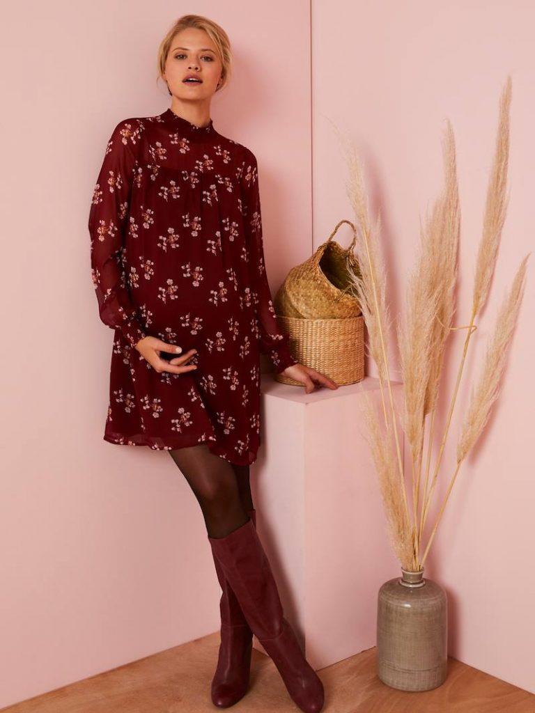 Robe de grossesse fleurie collection hiver- imprimé rouge foncé
