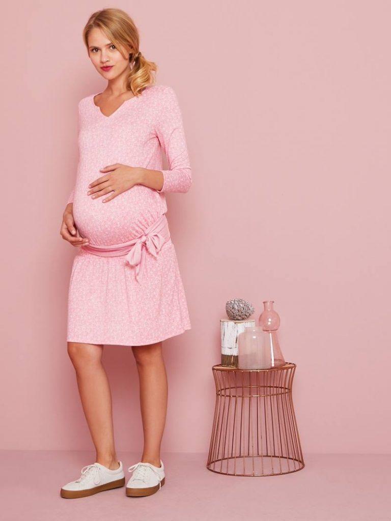Robe de grossesse hiver taille smockée et ceinture - rose clair