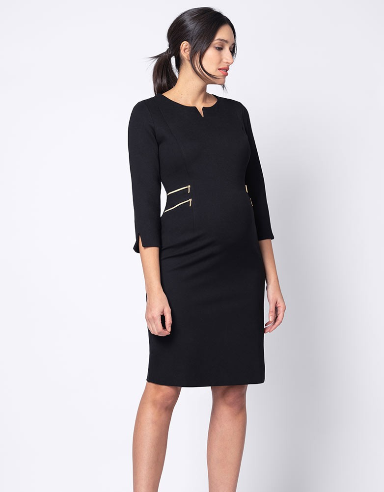 Robe grossesse poches zippées noire - seraphine.fr
