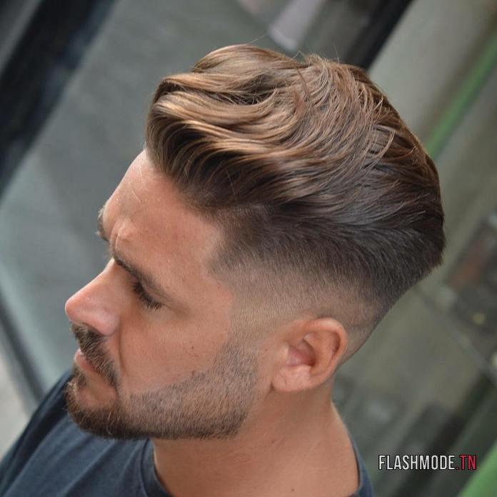 Frange coiffée en arrière + Dégradé Haut