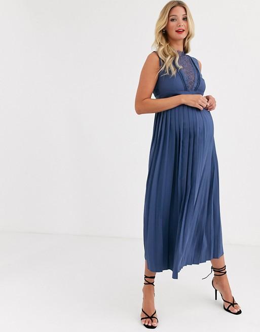 robe de grossesse longue modèle ASOS bleu