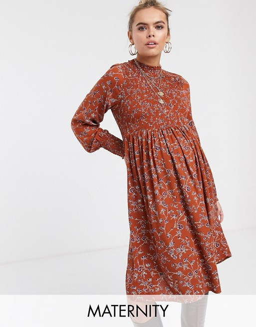 Mamalicious maternity floral smock midi dress in rust - Robe de Grossesse Collection 2019/2020