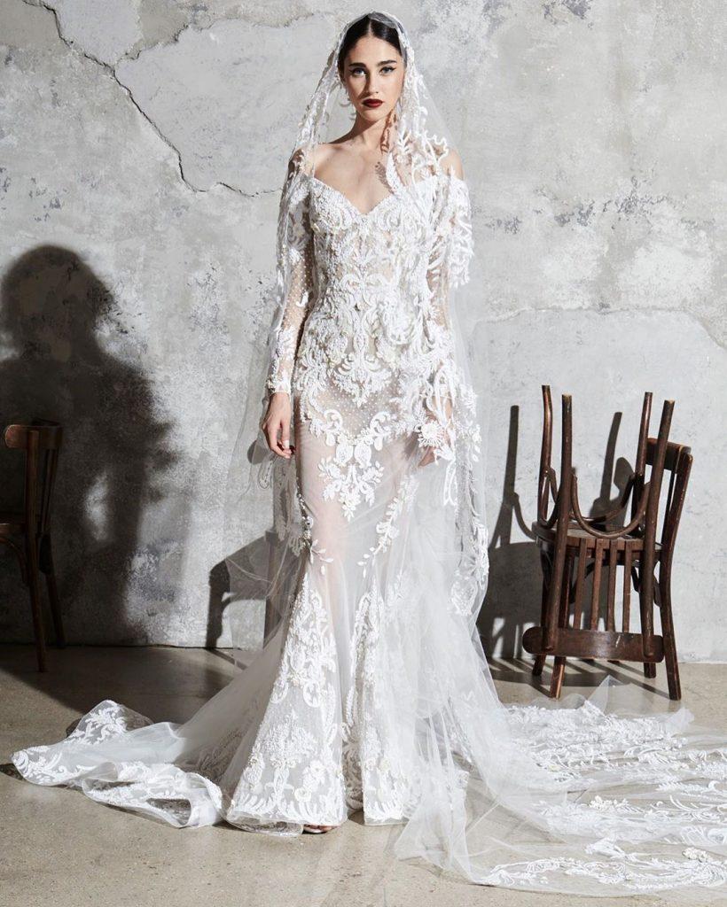 robes libanaises haute couture : robe de mariée longue zuhair murad collection 2020 modele 2