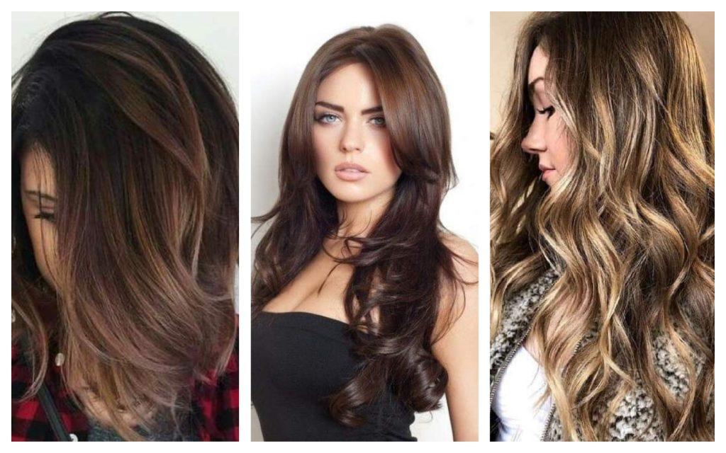 trois modeles Cheveux Marron tendance 2020