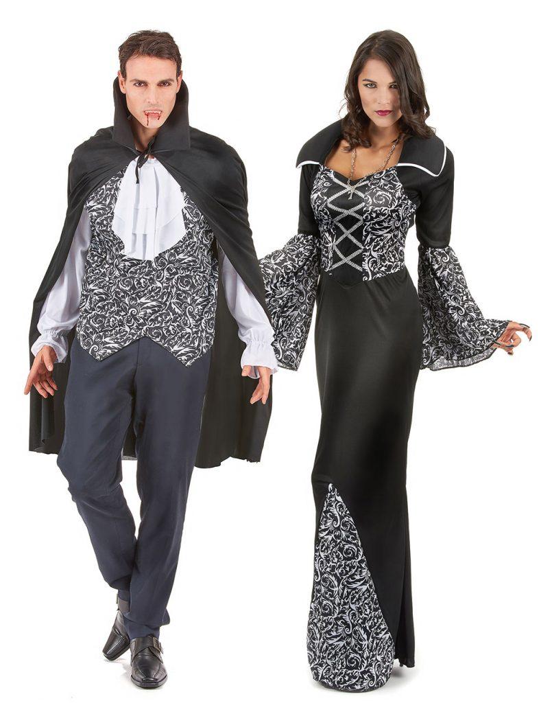 Déguisement de couple vampire noir et blanc