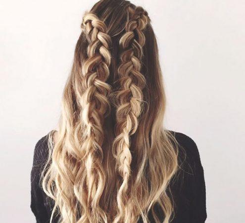 coiffures avec double tressage d'ondulations