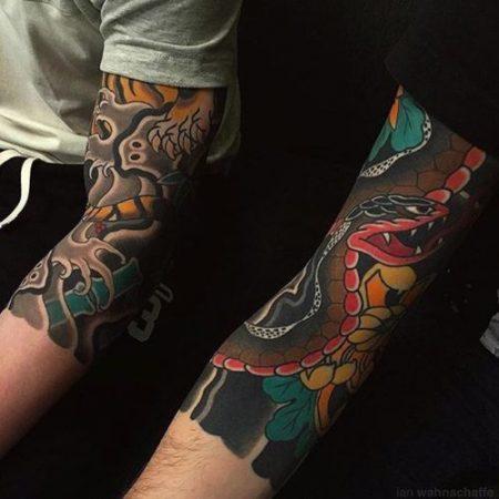 Tatouages japonais sur le bras hommes