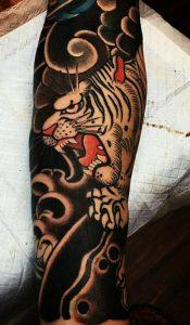 tatouage demi manches tigre japonais