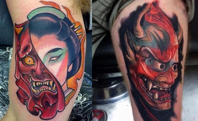 photos de tatouage du masque japonais hannya