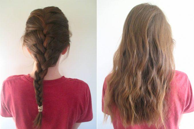 cheveux ondulés avec tresses