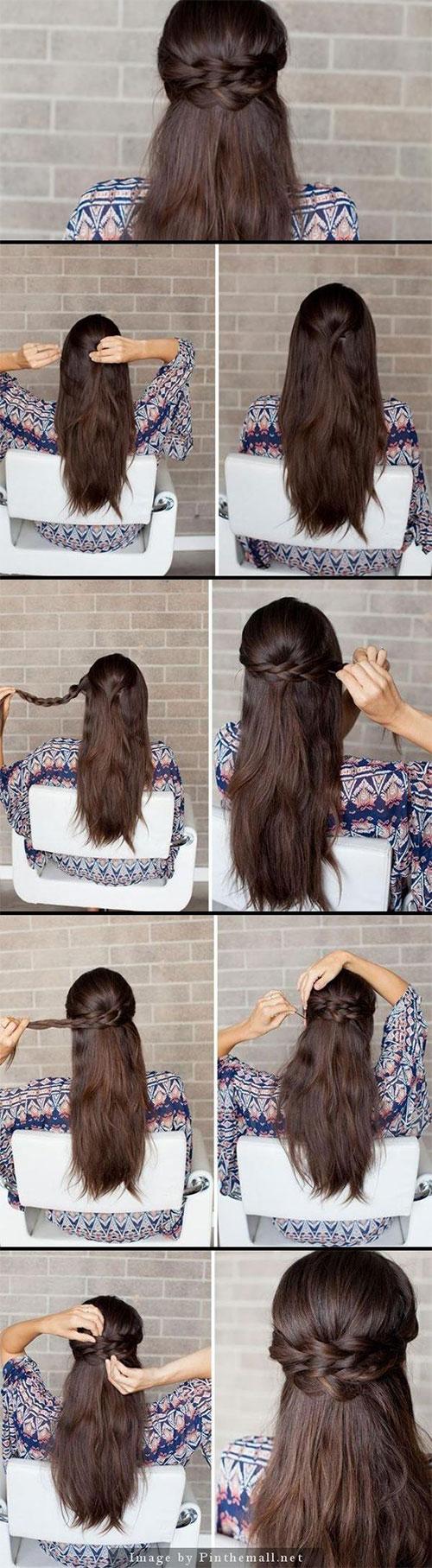 étape par étape coiffure demi-queue demi queue double tresse