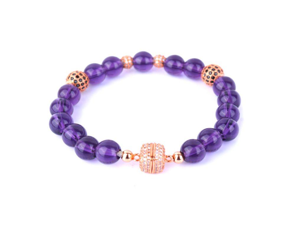 Bracelet PALMA : Succombez au charme de la nouvelle collection PALMA avec cet authentique bracelet en pierres d'Améthyste.
