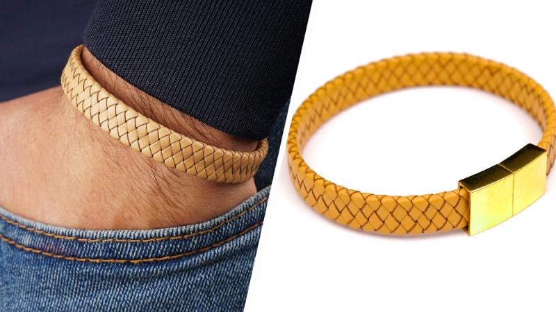 Chic et décontracté, le bracelet en cuir tressé et fermoir en plaqué Or.