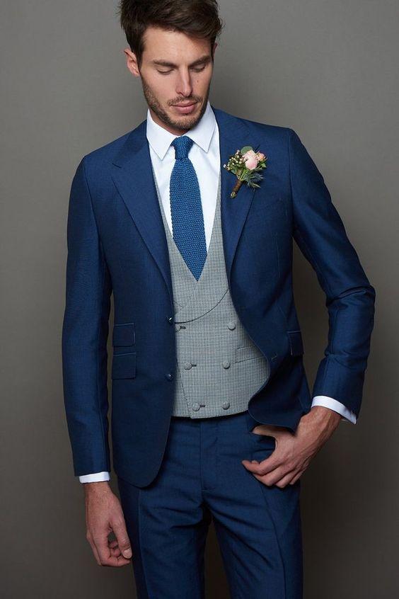 Couleur bleue costume de mariage