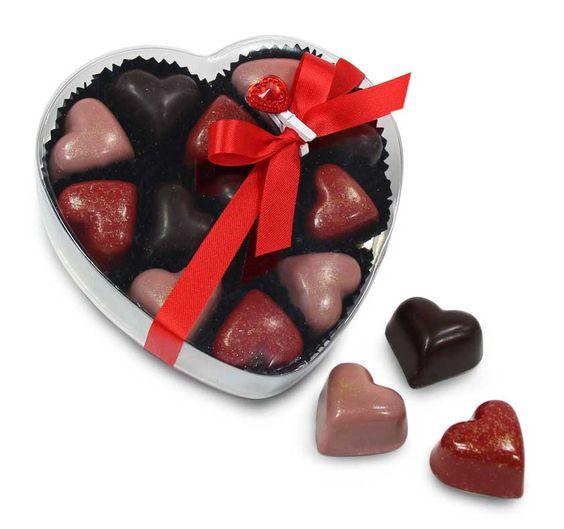 Coffret coeur transparent chocolats croustillants