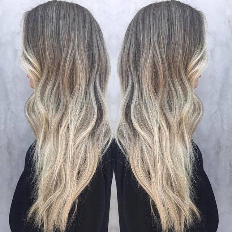 Blonde longue couche de frêne ombrelle
