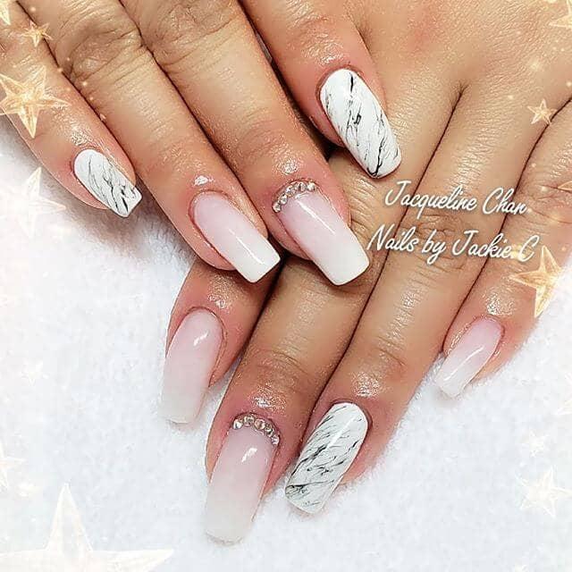 Ombre à ongles rose et blanc