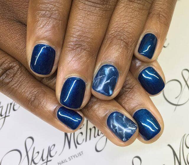 Idées de clous courts en marbre bleu métallisé