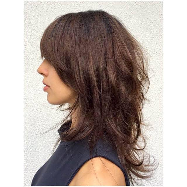 Couches audacieuses de cheveux bruns foncés
