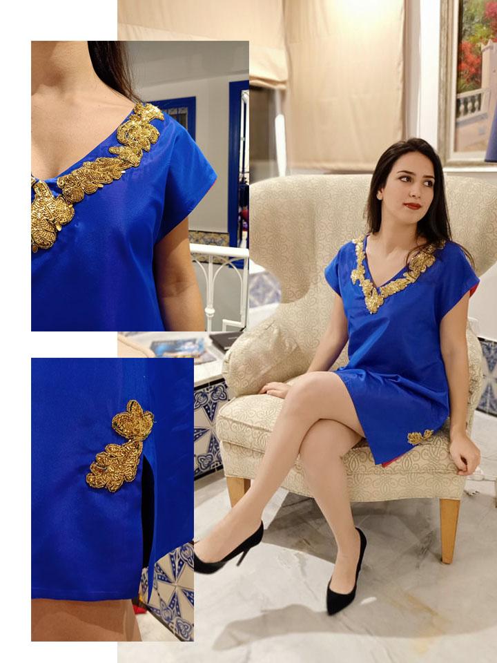 Caftan moderne bleu avec Triza doré / Motfis (asma ben Halima)