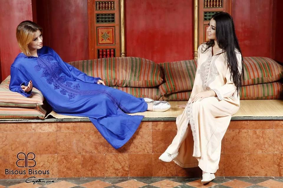 caftan haute couture tendance 2020 - Deux modeles de caftans tunisiens (Bisous Bisous)