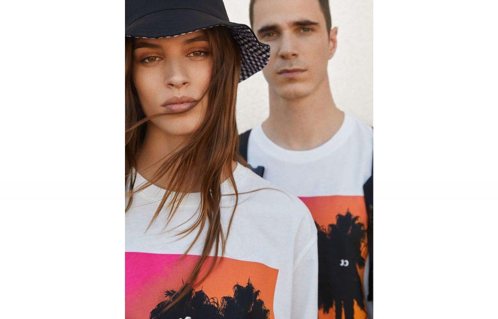 T-shirt imprimé en forme de palmier pour hommes