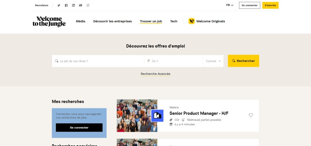 Welcome to the jungle - Offres d'emploi (CDI, CDD), apprentissages et stages