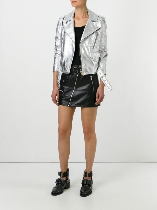 veste motard en cuir argenté veste été femme en 2021