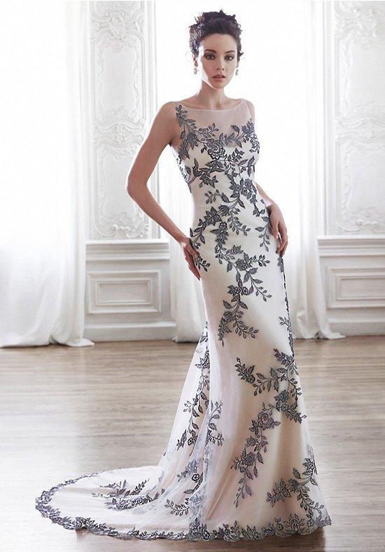 photo de robes de mariée : couleur avec un motif